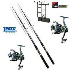 Kit 2 Lansete Zebco Atac Tele Feeder 3,30m 100g + 2 Mulinete Zebco Cool X FD 350 + Rod Pod DAM MAD H-Bar + Buzzer Bar