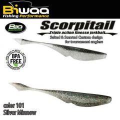 Shad Biwaa Scorpitail 10cm, culoare Silver Minnow