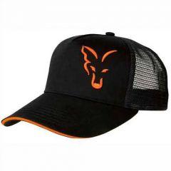 Sapca Fox Black Orange Trucker