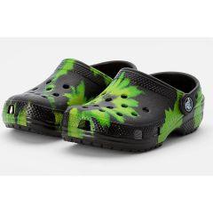 Papuci Crocs Classic Tie Dye Graphic Clog Black/Lime Punch, marime 43-44