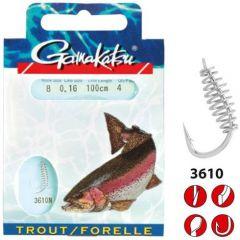 Carlige legate Gamakatsu Trout Spiral Nickel Nr.6/0.22mm