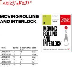 Agrafe + varteje culisante Lucky John Interlock 01S, 10 buc/plic