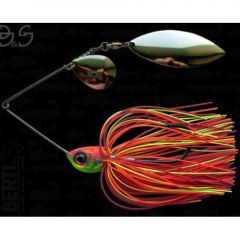 Bertilure Spinnerbait Gigant Big&Strong, 17g,Skirt Siliconic Orange-Rosu-Chartreuse