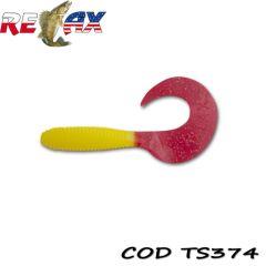Grub Relax Twister VR4 8cm, culoare 374 - 10buc/plic